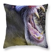 Mandrill Yawn Throw Pillow