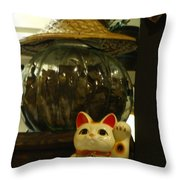 Maneki Neko Japanese Beckoning Money Cat 02 Throw Pillow