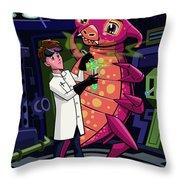 Manga Professor With Nice Pink Monster Experiment Throw Pillow