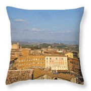 Mangia Tower Piazzo Del Campo  Siena  Throw Pillow