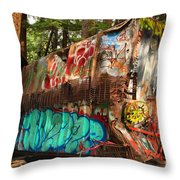 Mangled Whistler Train Wreck Box Car Throw Pillow