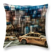 Manhattan - Yellow Cabs - Future Throw Pillow