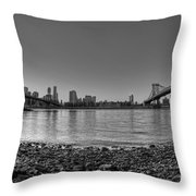 Manhattan And Brooklyn Bridge Fisheye Bw Throw Pillow
