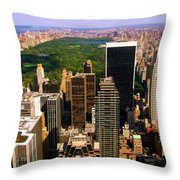Manhattan And Central Park Throw Pillow