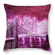 Manhattan At Night Enhanced Throw Pillow