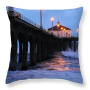 Manhattan Beach Pier Crashing Surf Throw Pillow