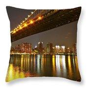 Manhattan Bridge By Night Throw Pillow