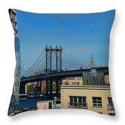 Manhattan Bridge From Brooklyn Throw Pillow