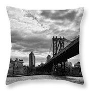 Manhattan Bridge In Bw Throw Pillow