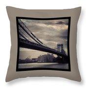 Manhattan Bridge In Ny Throw Pillow