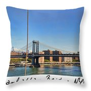 Manhattan Bridge Nyc Throw Pillow