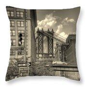 Manhattan Bridge Peeking Through Throw Pillow