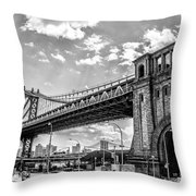 Manhattan Bridge - Pike And Cherry Streets Throw Pillow