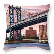 Manhattan Bridge Under A Purple Sunset Throw Pillow