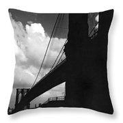 Manhattan Brooklyn Bridge View Throw Pillow