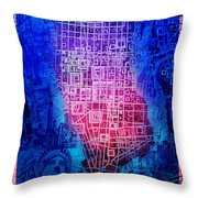 Manhattan Map Abstract 5 Throw Pillow