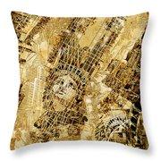 Manhattan Map Antique Throw Pillow