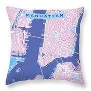 Manhattan Map Graphic Throw Pillow