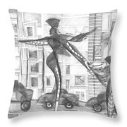 Manhattan Mother Hailing Cab With Daughter Throw Pillow
