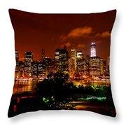 Manhattan Night Skyline Throw Pillow