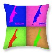 Manhattan Pop Art Map 1 Throw Pillow by Naxart Studio