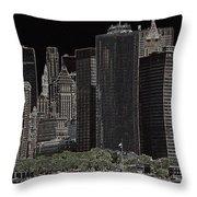 Manhattan Skyline Abstract Throw Pillow