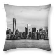 Manhattan Skyline Black And White Throw Pillow