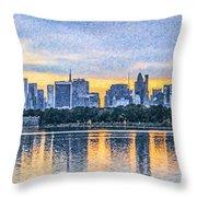 Manhattan Skyline From Central Park Reservoir Nyc Usa Throw Pillow
