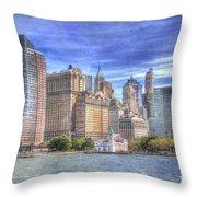 Manhattan Skyline From Hudson River Throw Pillow by Juli Scalzi