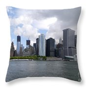 Manhattan Skyline From The Hudson River Throw Pillow