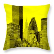 Manhattan Skyline In Yellow Throw Pillow