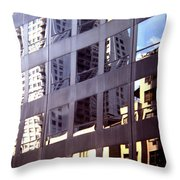 Manhattan Skyscraper Reflection Throw Pillow
