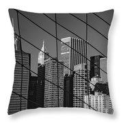 Manhattan Through The Brooklyn Bridge Throw Pillow