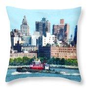 Manhattan - Tugboat Against Manhattan Skyline Throw Pillow