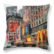 Manhattan's Theater District Throw Pillow