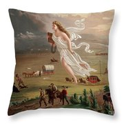 Manifest Destiny 1873 Throw Pillow by Photo Researchers