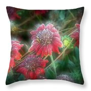 Manipulated Scarlet Quartet Throw Pillow