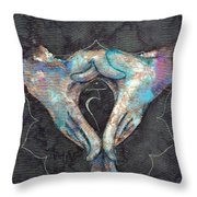 Manipura - Solar Plexus 'blue Hand' Chakra Mudra Throw Pillow