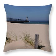 Manistee Harbor Lighthouse From Beach Throw Pillow