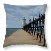 Manistee Lighthouse And Walkway Throw Pillow
