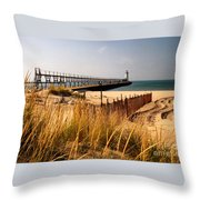 Manistee Lighthouse Throw Pillow by Crystal Nederman