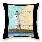 Manistee N Pierhead Lighthouse Mi Nautical Chart Map Art Throw Pillow