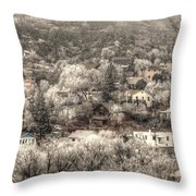 Manitou To The South In Snow Close Up Throw Pillow