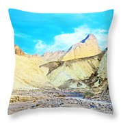 Manly Beacon From Golden Canyon In Death Valley National Park-california Throw Pillow
