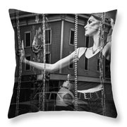 Mannequin In Storefront Shop Window In Black And White Throw Pillow