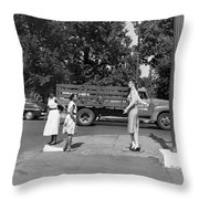 Mannequin Talks Traffic Safety Throw Pillow