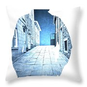 Man's Profile Silhouette With Old City Streets Throw Pillow