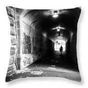 Man's Silhouette In Urban Tunnel Black And White Throw Pillow