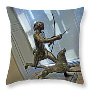 Manship's Indian Running With Dog Throw Pillow