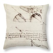 Manuscript B F 36 R Architectural Studies Development And Sections Of Buildings In City With Raise Throw Pillow
